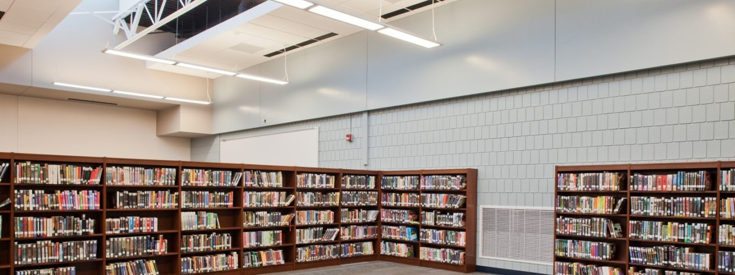 Pleasant Valley Junior High School library book shelves