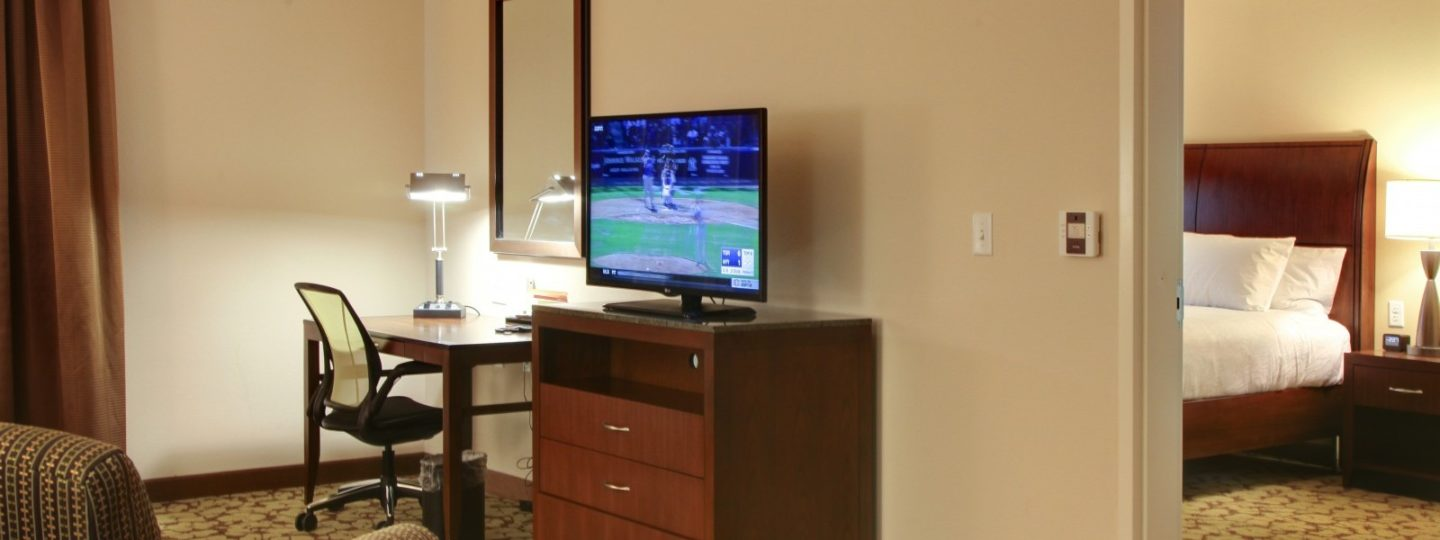 HIlton hotel TV and hotel room