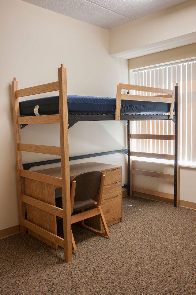 St. Ambrose North Hall dorm bunk beds and desk