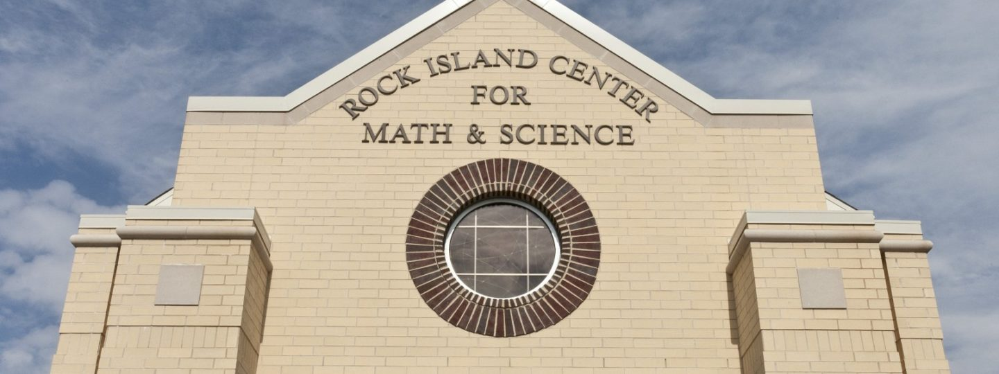 Rock Island Center for Math and Science exterior building sign close-up