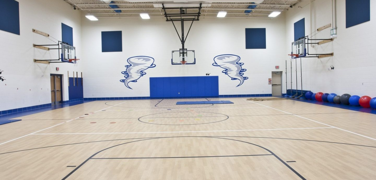 Rock Island Center for Math and Science interior gymnasium