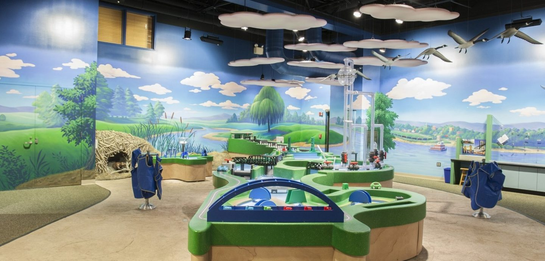Bettendorf Family Museum interior exhibit room with children's cityscape playset