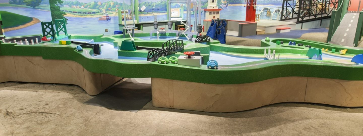 Bettendorf Family Museum interior exhibit room with children's cityscape playset