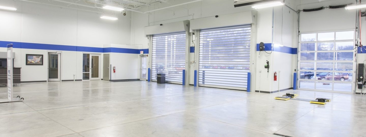 Green Hyundai dealership service center garage interior