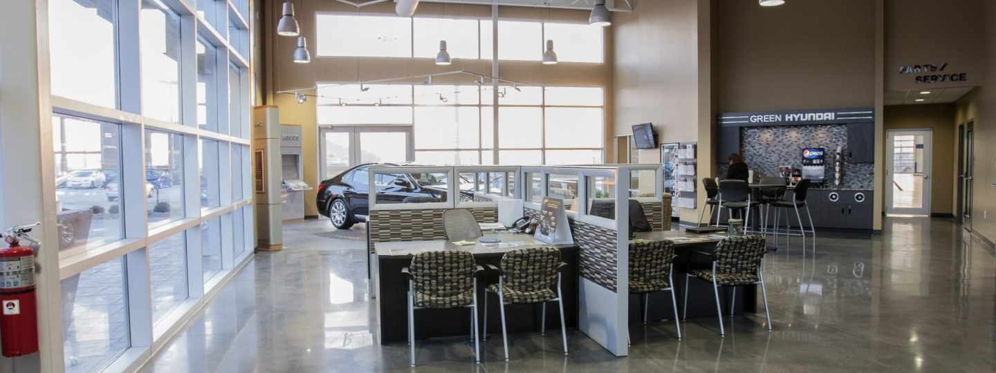 Green Hyundai dealership customer desk area