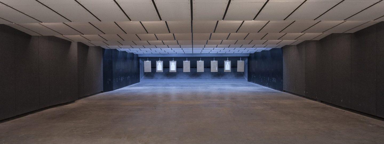Far view of shooting range and rectangular targets
