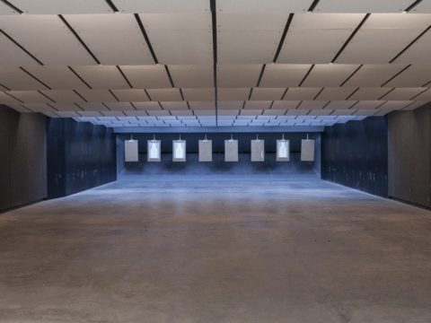 Far view of shooting range and rectangular targets