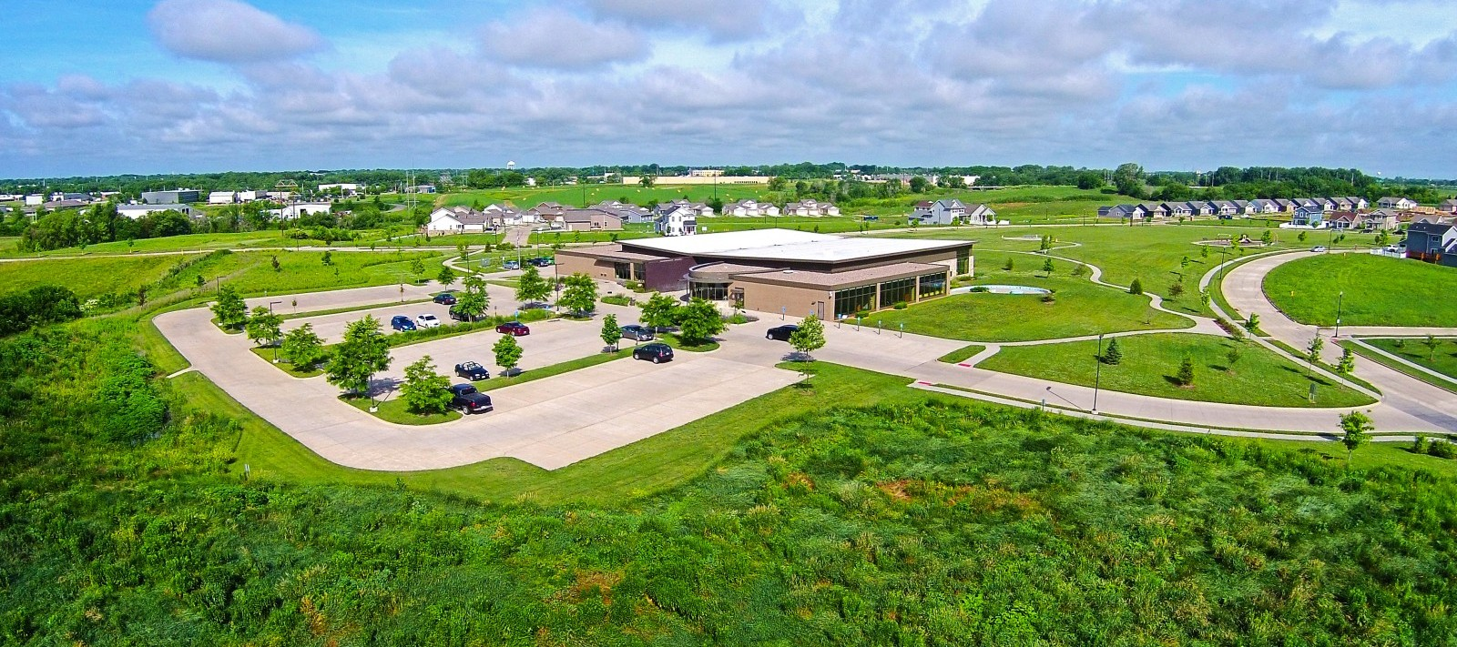 Davenport Public Library Eastern Branch overhead view in summer
