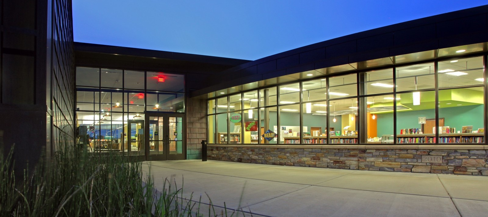Davenport Public Library Eastern Branch entryway at night
