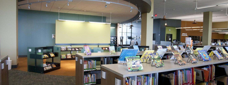 Davenport Public Library Eastern Branch interior bookshelves