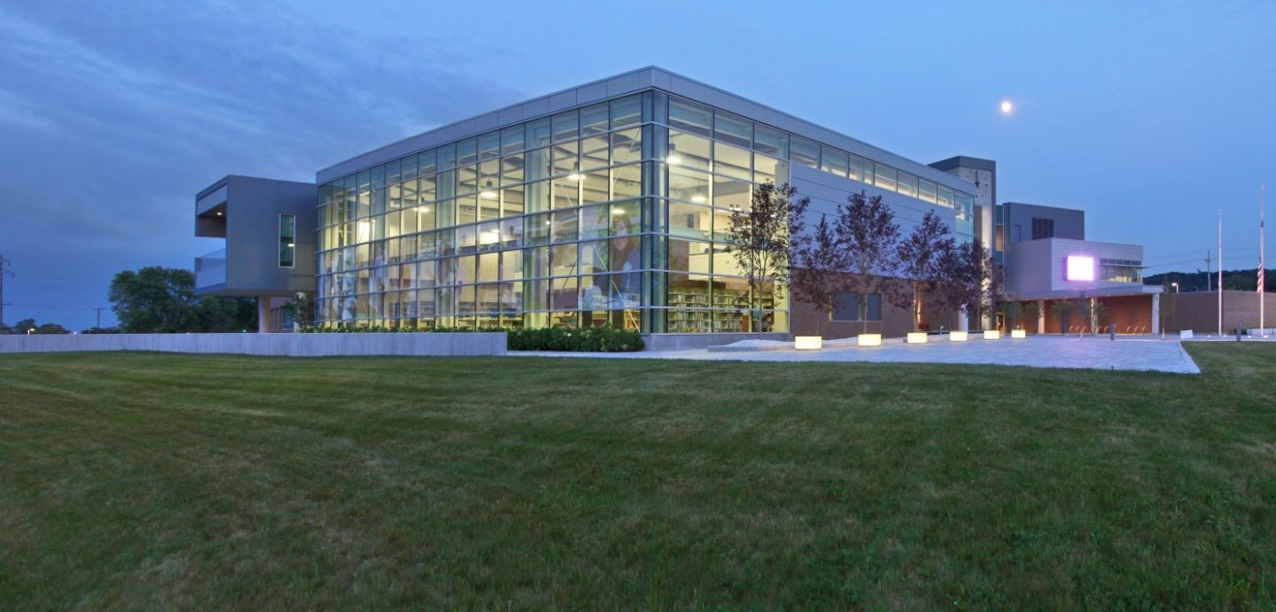 Western Illinois University Riverfront campus building at night