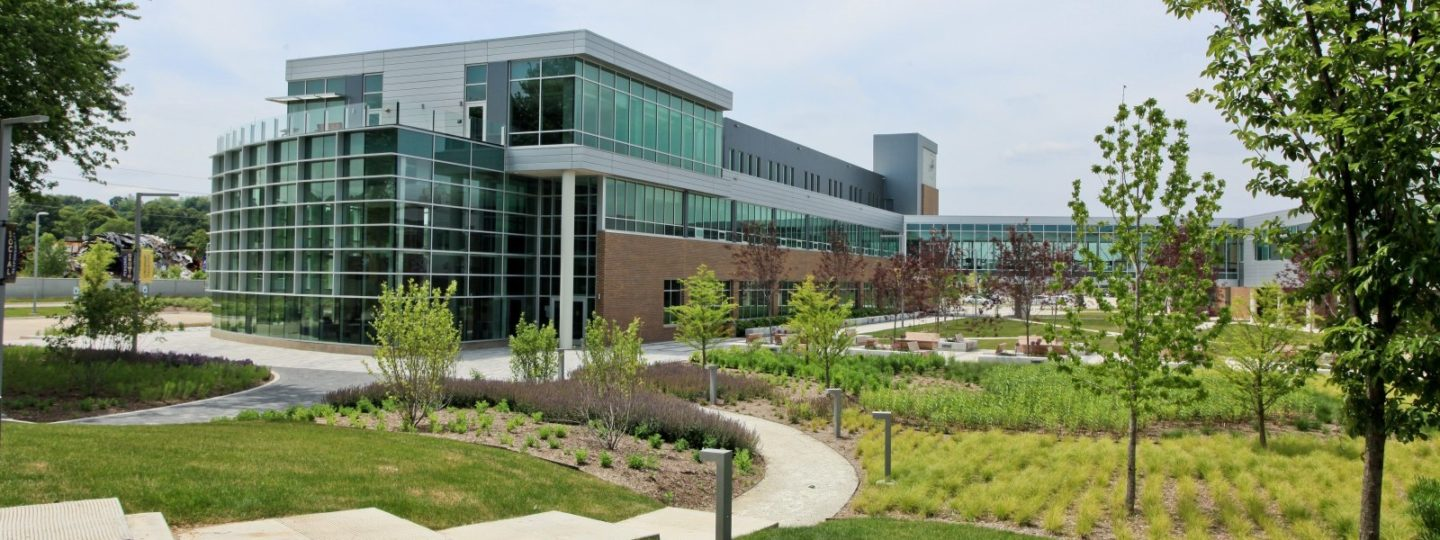 Western Illinois University Riverfront campus building during the day