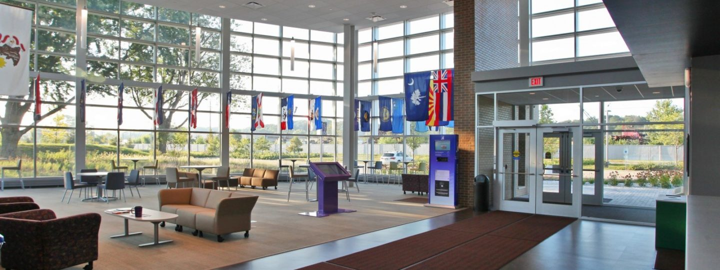 Western Illinois University Riverfront campus interior welcome center