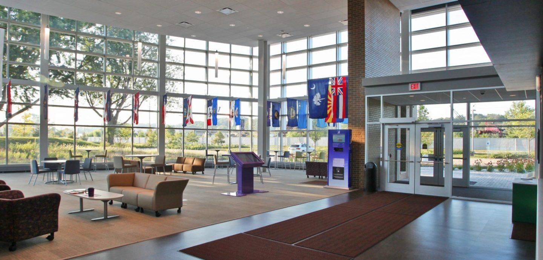 Western Illinois University Riverfront campus interior welcome center