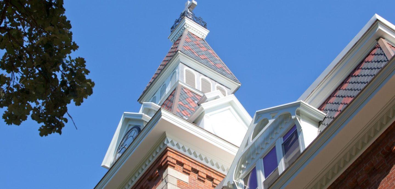 Ambrose Hall clocktower 3/4 view detail