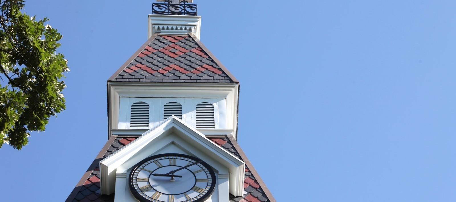 Ambrose Hall clocktower close-up