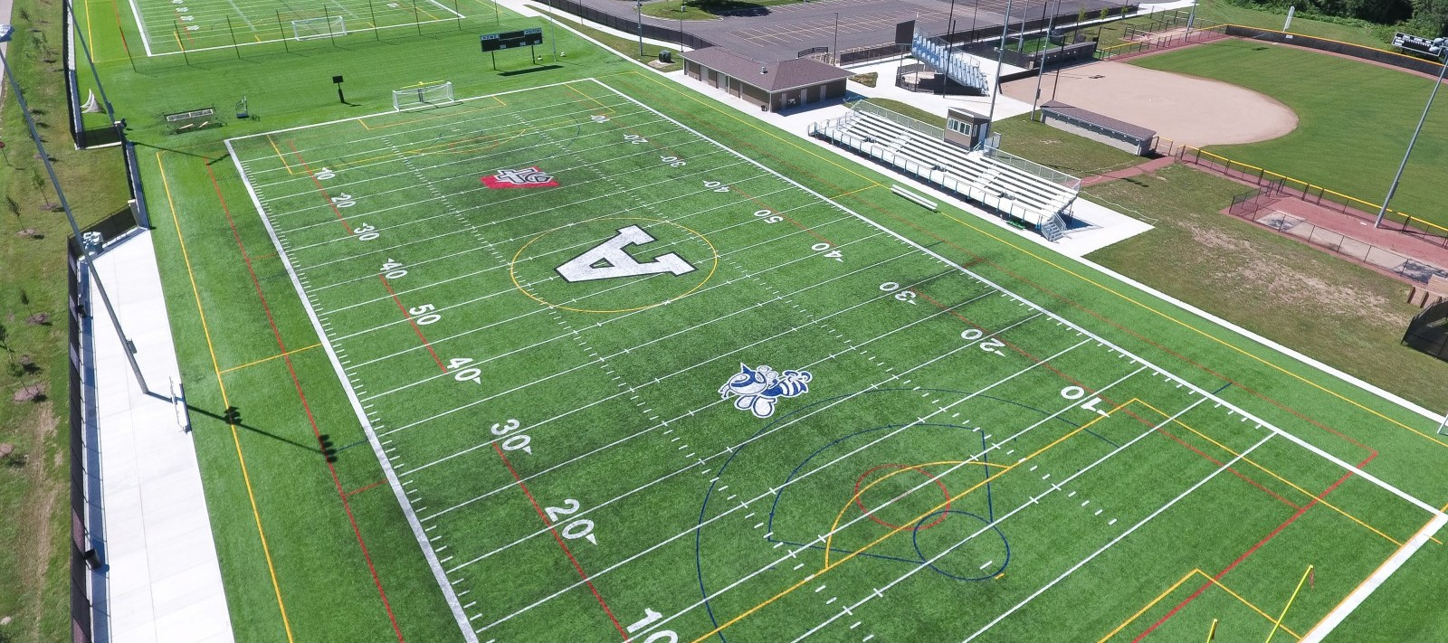 Aerial view of Assumption football field