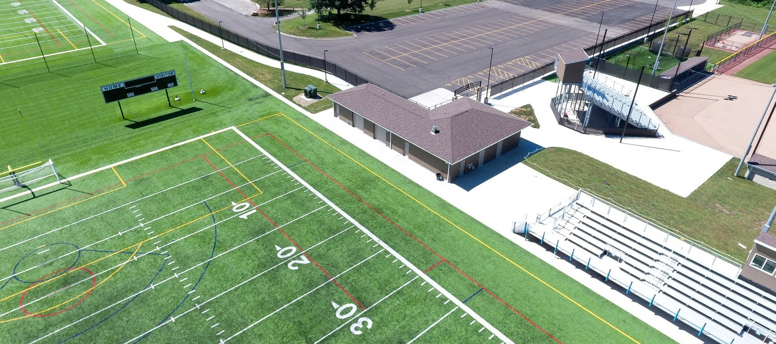 Aerial view of Assumption sports complex