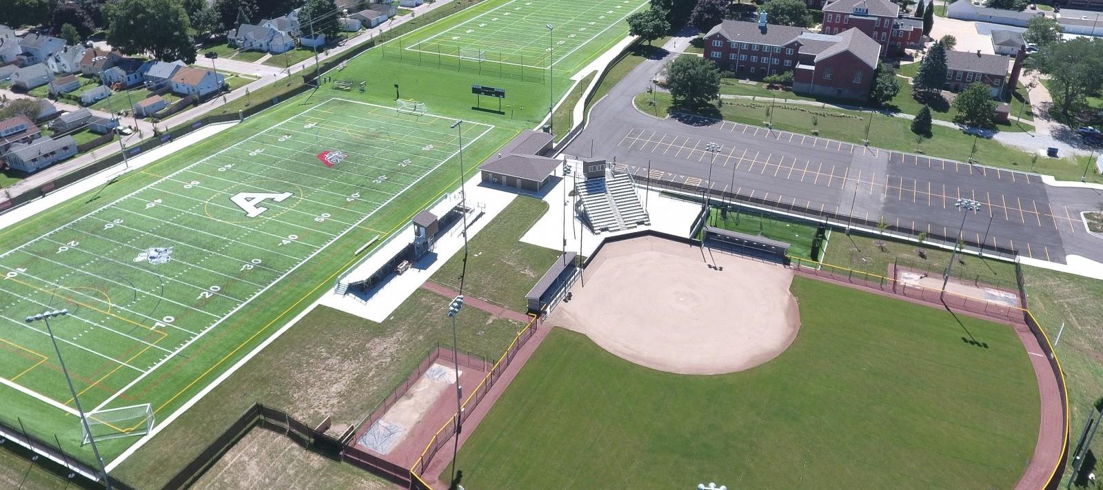 Aerial view of Assumption baseball field