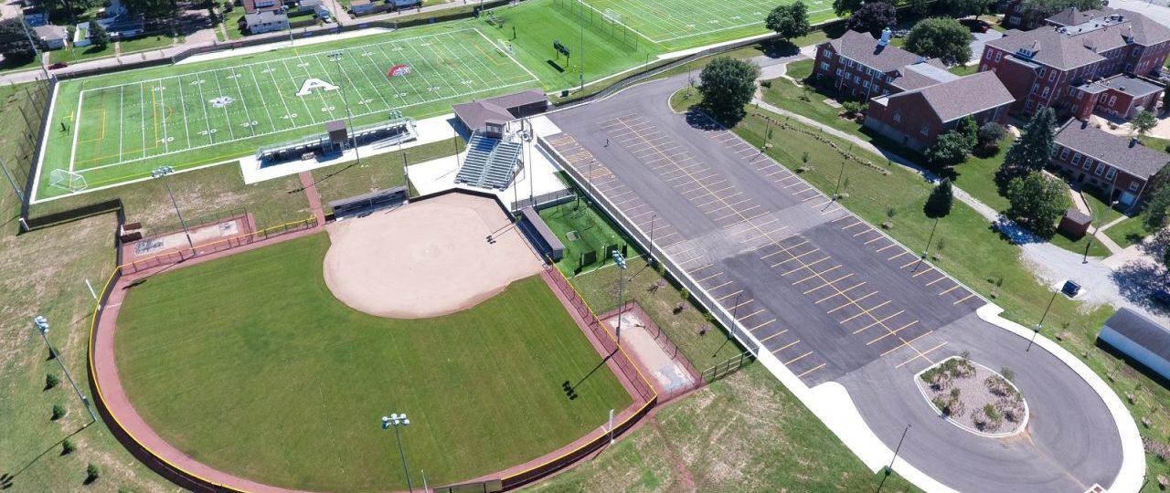 St. Ambrose, St. Vincent sports complex aerial shot