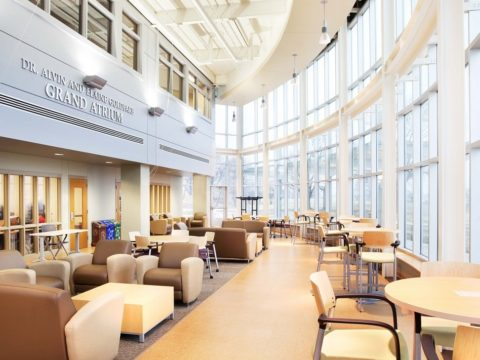 Western Illinois University interior curved study area