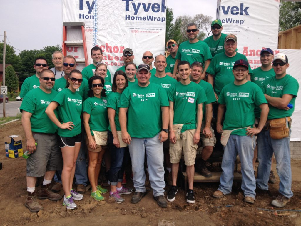 Bush Construction group working at Habitat for Humanity
