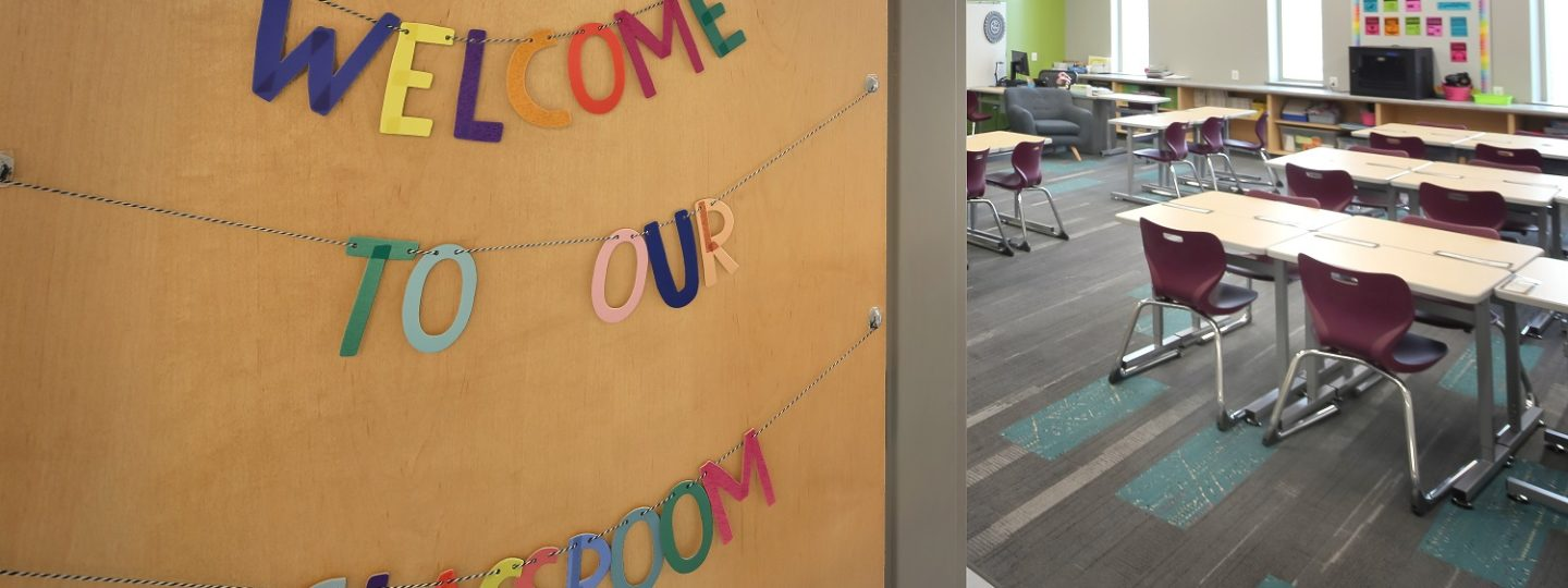A sneak peek into the brand new Mark Twain Elementary School classroom.