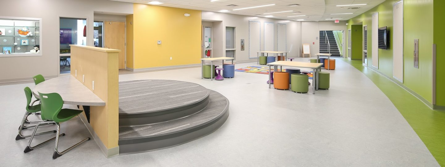 The brand new Mark Twain Elementary School boasts open areas and natural light