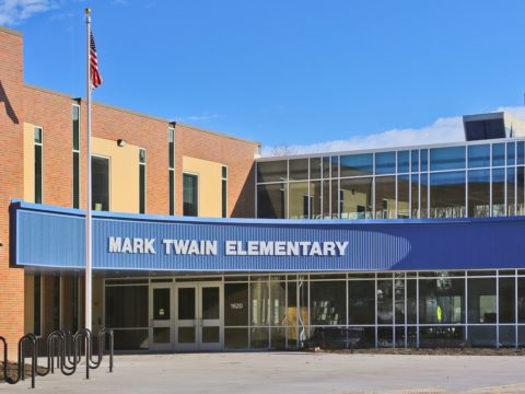 The brand new Mark Twain Elementary School entrance