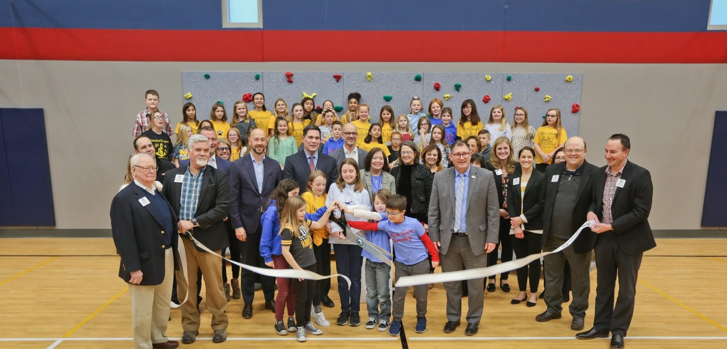 Excitement filled the brand new Mark Twain Elementary School gym at the building grand opening