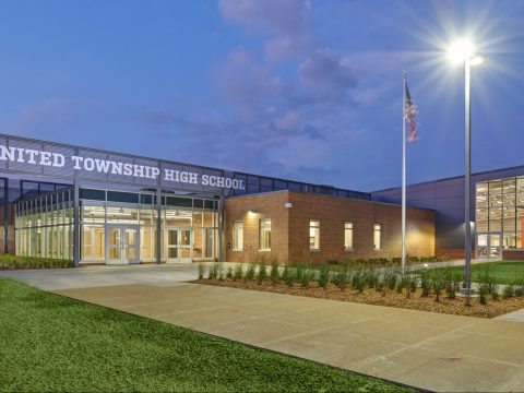 This is an exterior image of the brand new United Township High School additional and school renovation