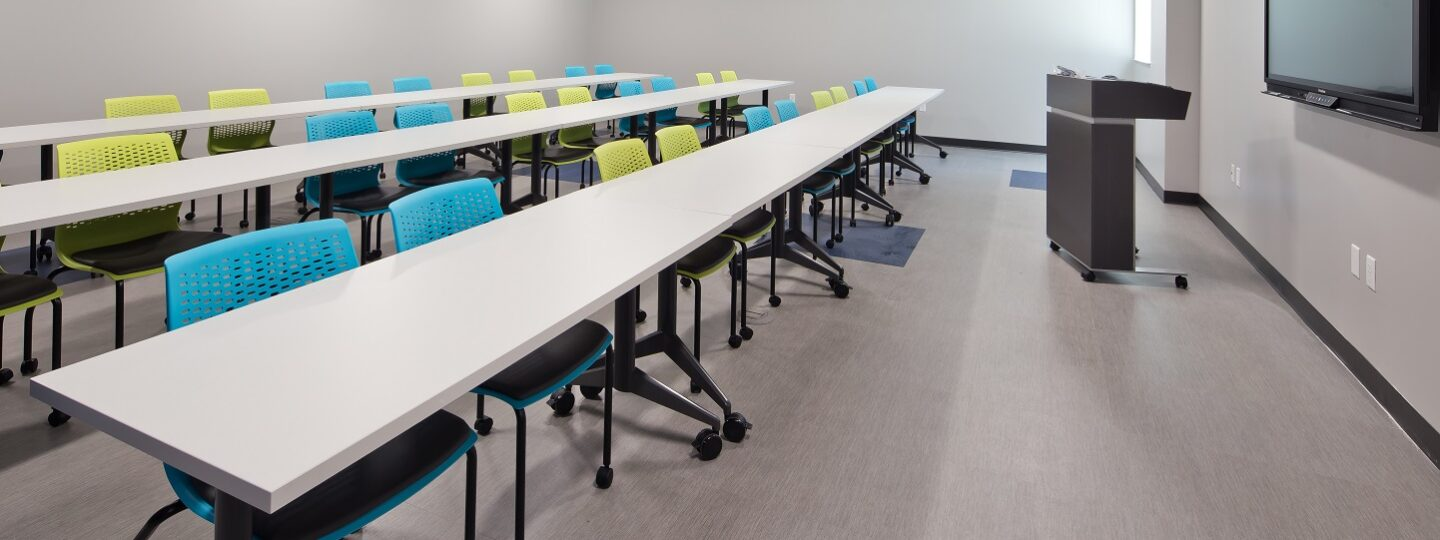 Lecture-style classrooms were a part of the newly renovated McMullen Hall
