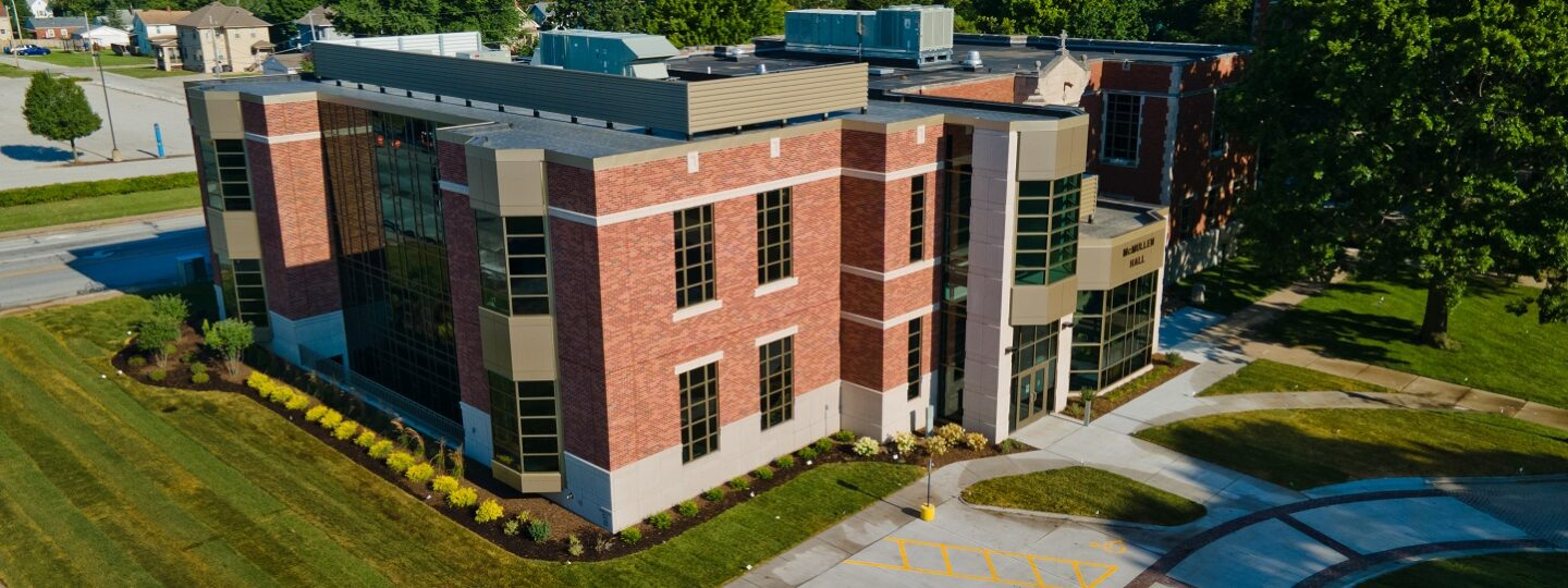 This is an exterior shot of the newly renovated McMullen Hall on the St. Ambrose University campus