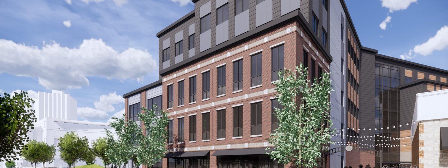 This is an exterior image of the Trail East building project in Normal, Illinois